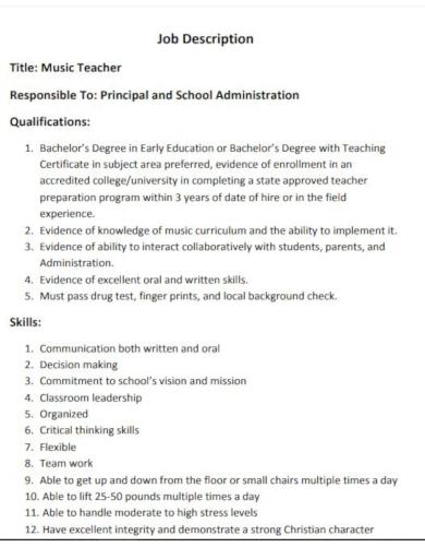 job description for music teacher download