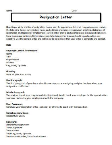 job resignation letter template