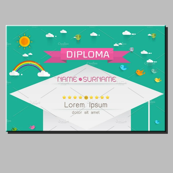 Kids Preschool Diploma Certificate Layout