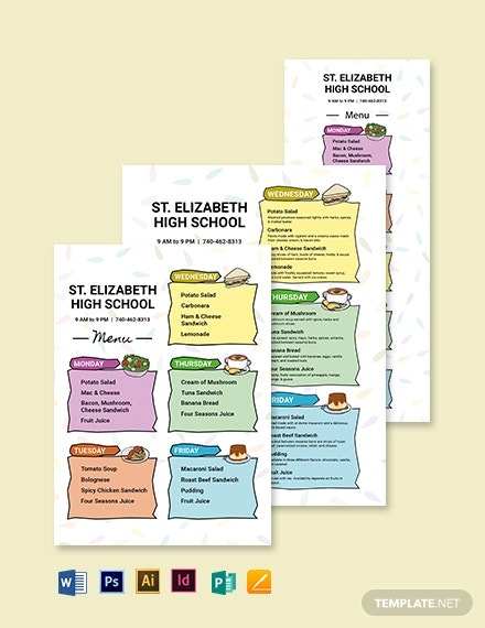 kids school menu template