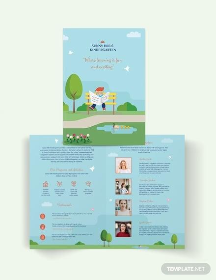 kindergarten bi fold brochure template