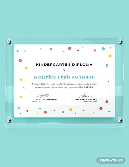 kindergarten diploma certificate download