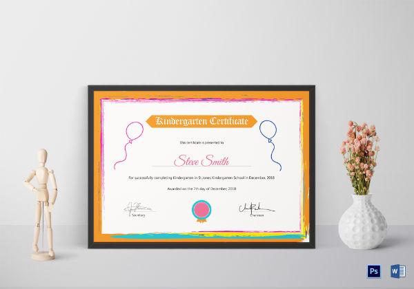 kindergarten preschool certificate