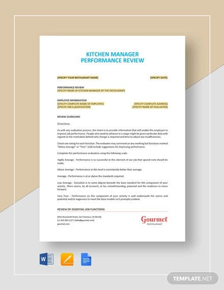 kitchen manager performance review template