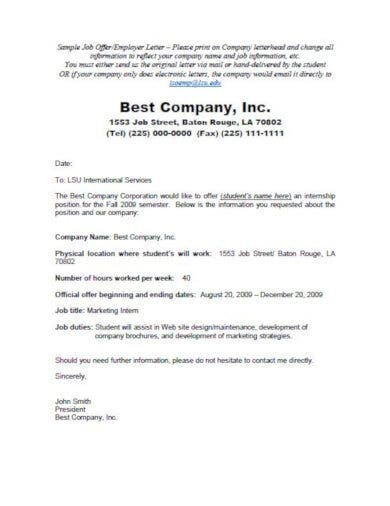 layout job offer letter template