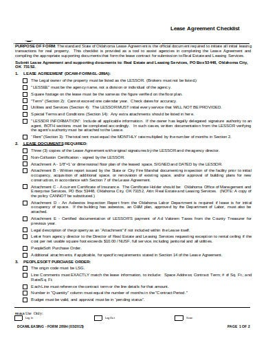 lease checklist agreement example