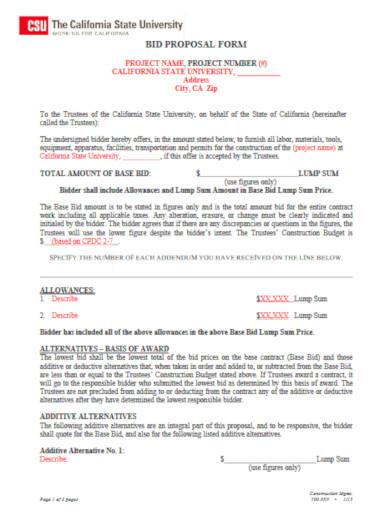 legal construction bid proposal form template