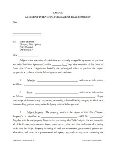 letter of intent for purchase of real property