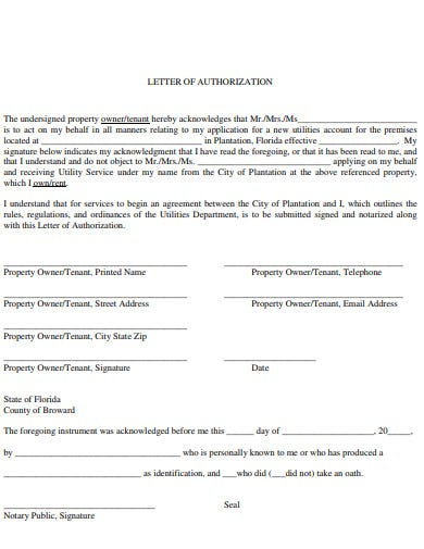 letter of property authorization template