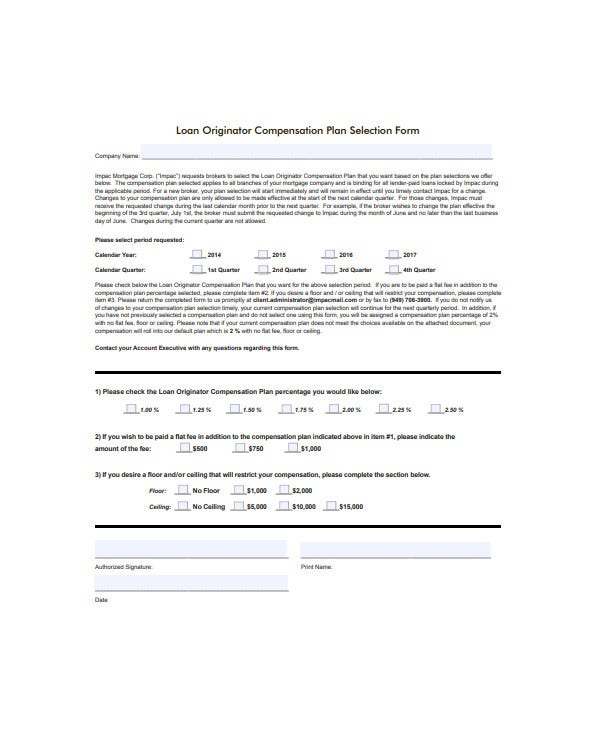 loan originator compensation plan template