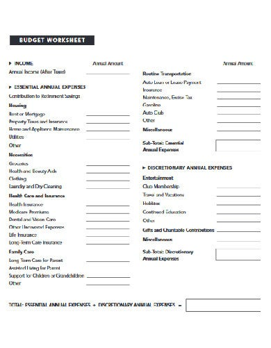 long term personal budget worksheet