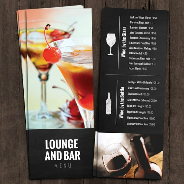 lounge bar cocktail menu example