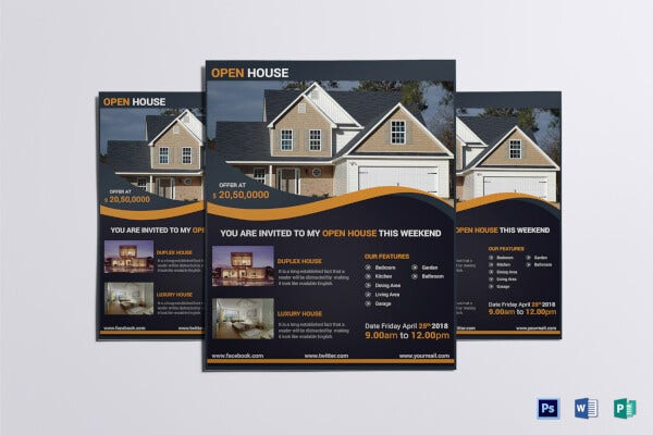 luxury open house real estate flyer template