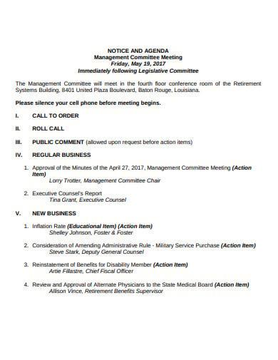 management meeting agenda format