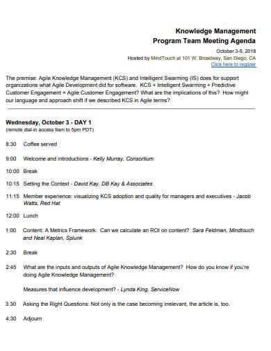 management program team meeting agenda