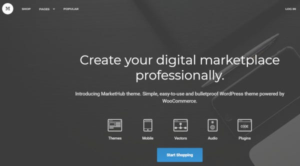 market hub minimal wordpress theme