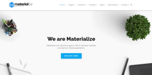 materialize html5 and css3 wordpress theme