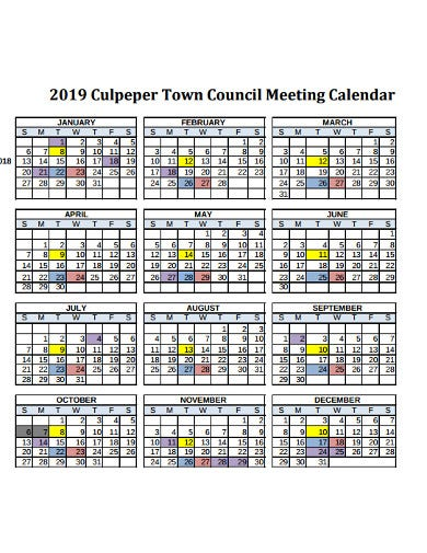 meeting calendar in pdf