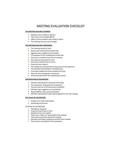 meeting evaluation checklist