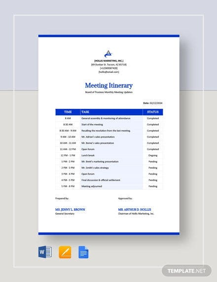 meeting itinerary template1