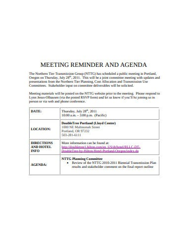 meeting reminder and agenda example