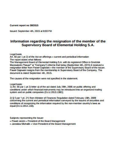 membership resignation letter information
