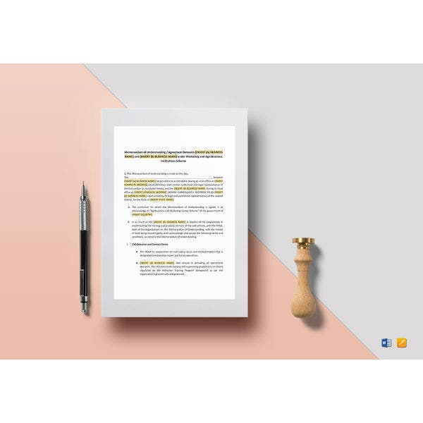 memorandum of understanding for business template