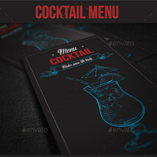 minimal modern cocktail menu sample