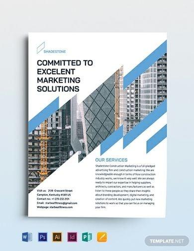 minimalist construction marketing flyer template