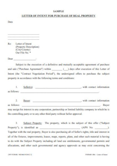 minimalistic real estate letter of intent template
