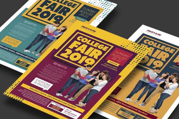 modern college fair flyer template