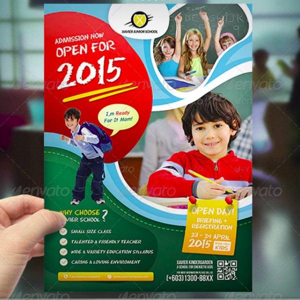 modern kindergarten invitation flyer design