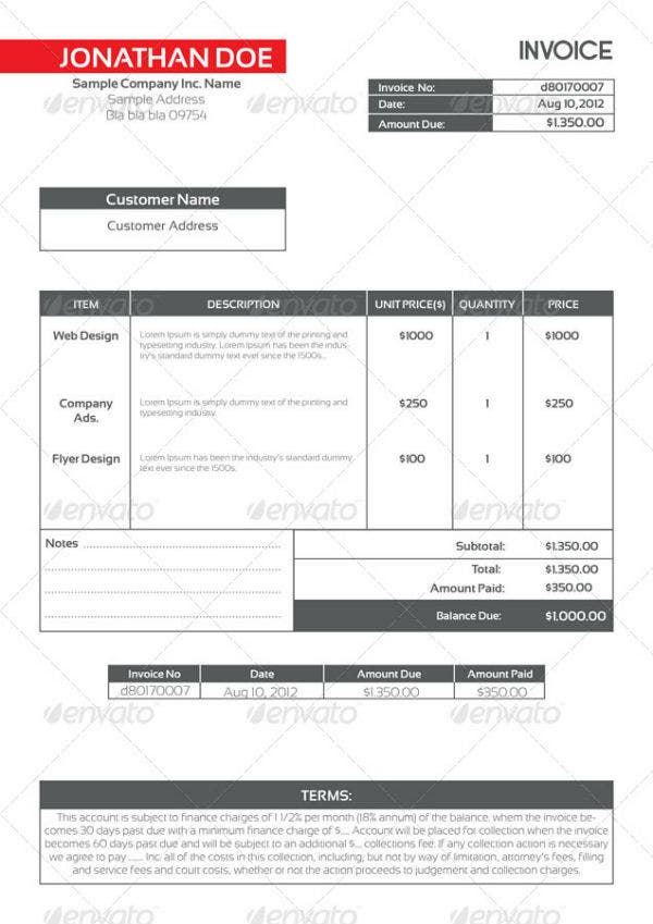 modern proforma invoice template package