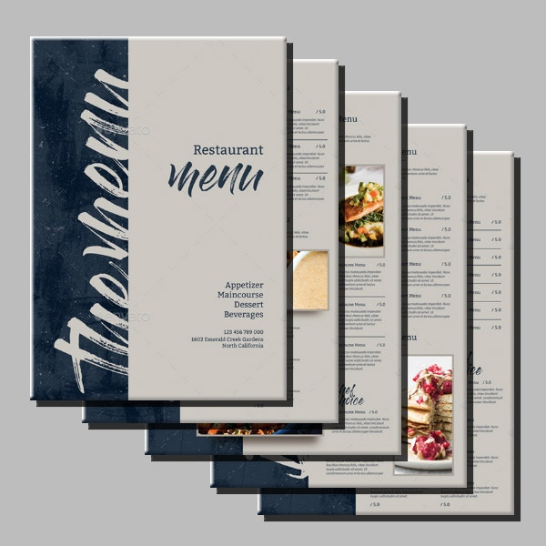 modern rustic restaurant menu layout
