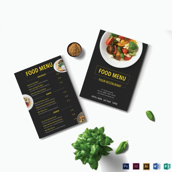 modern theme restaurant menu template