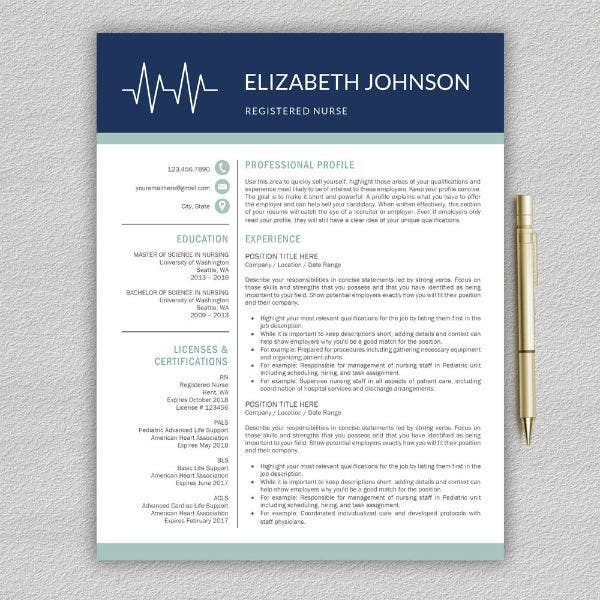 modern travel nursing resume template