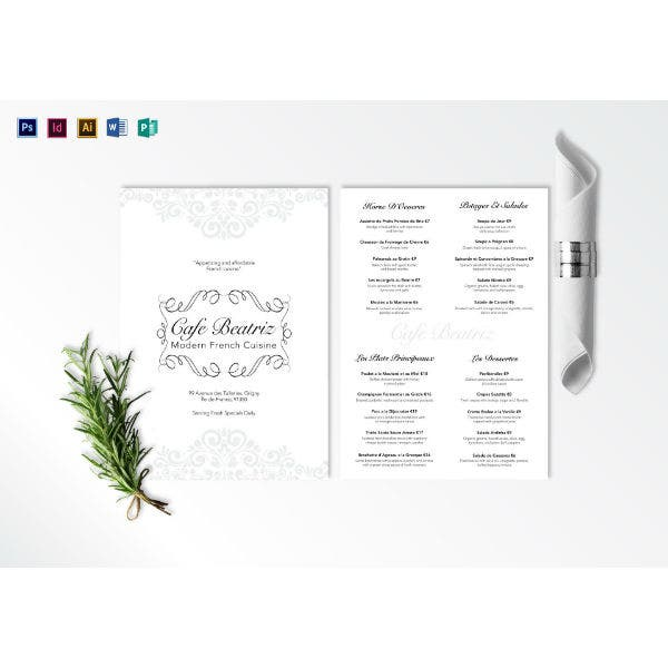 modern white french menu template