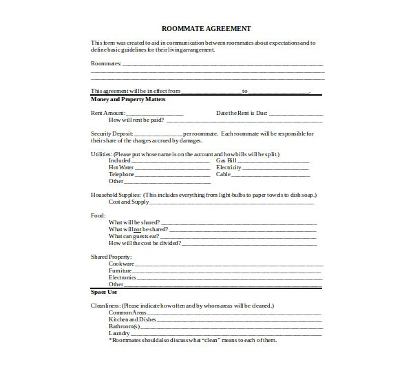 money and property matters roommate agreement template