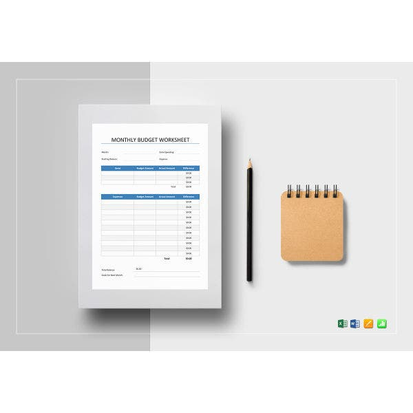 monthly budget worksheet template3