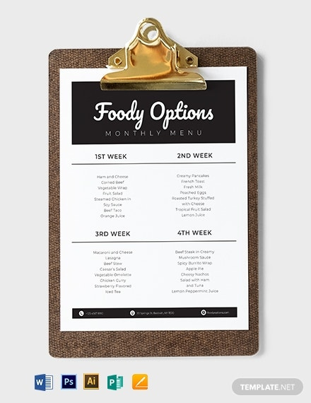 10  monthly menu templates