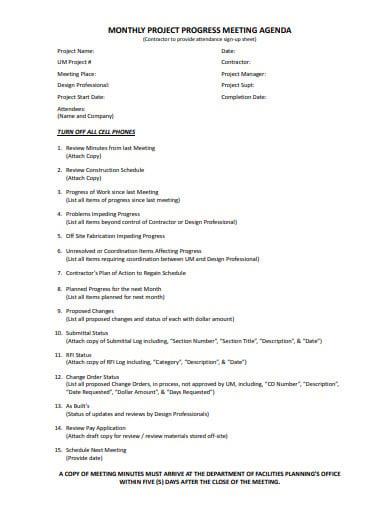 monthly project progress meeting agenda