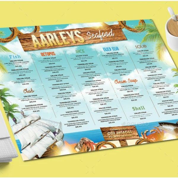 multi purpose seafood menu template