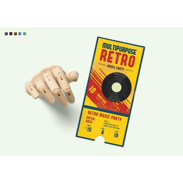 multipurpose retro party ticket template