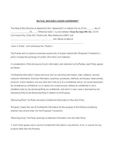 mutual non disclosure agreement in pdf