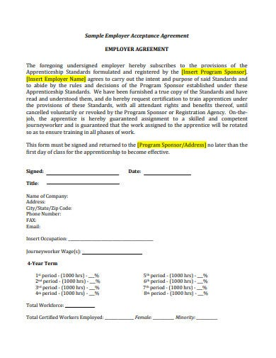 new employer acceptance agreement