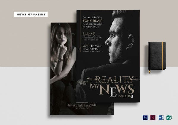 news magazine templete mock up