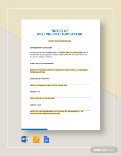 notice of meeting directors special