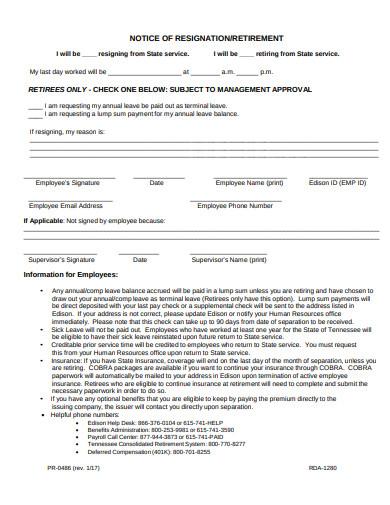 notice of resignation or retirement