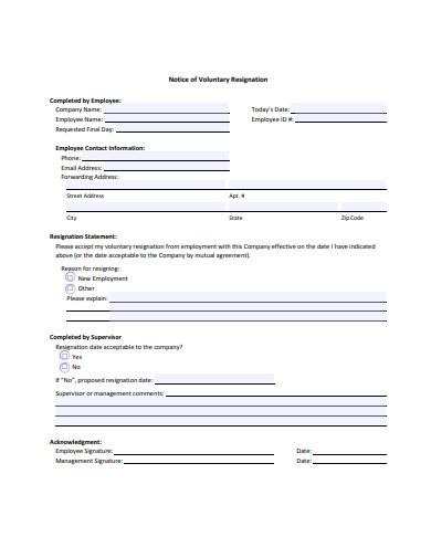 notice of voluntary resignation