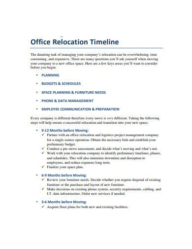 office relocation timeline